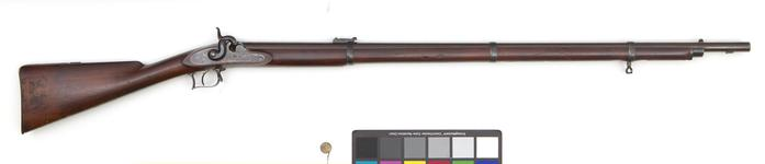 Thumbnail image of Percussion muzzle-loading rifle - By William Greener Experimental rifle produced for submission to the 1852 series of experiments. It is fitted with barrel bands. Ordnance Select Committee Trials 1852