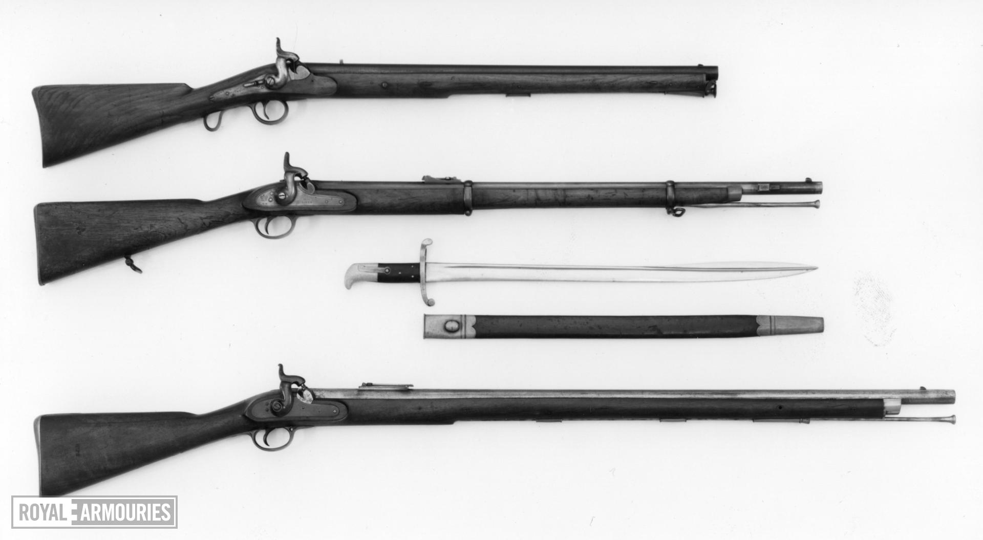 Bayonet and scabbard Sword bayonet and scabbard, Pattern 1855 for Sappers and Miners