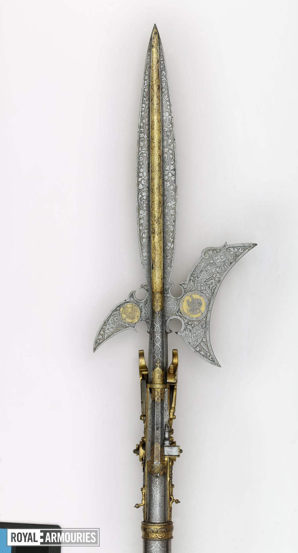 Wheellock combination halberd and double-barrelled pistol - By B. A Highly decorated