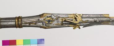 Thumbnail image of Wheellock combination halberd and double-barrelled pistol - By B. A Highly decorated