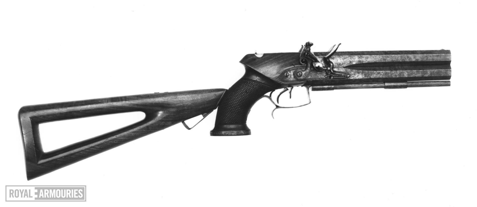 Flintlock double-barrelled pistol with detachable stock. English, about 1805. Made by Tatham and Egg (XII.1380)