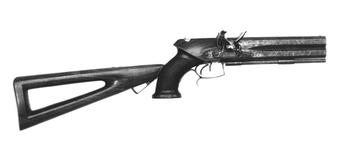 Thumbnail image of Flintlock double-barrelled pistol with detachable stock. English, about 1805. Made by Tatham and Egg (XII.1380)