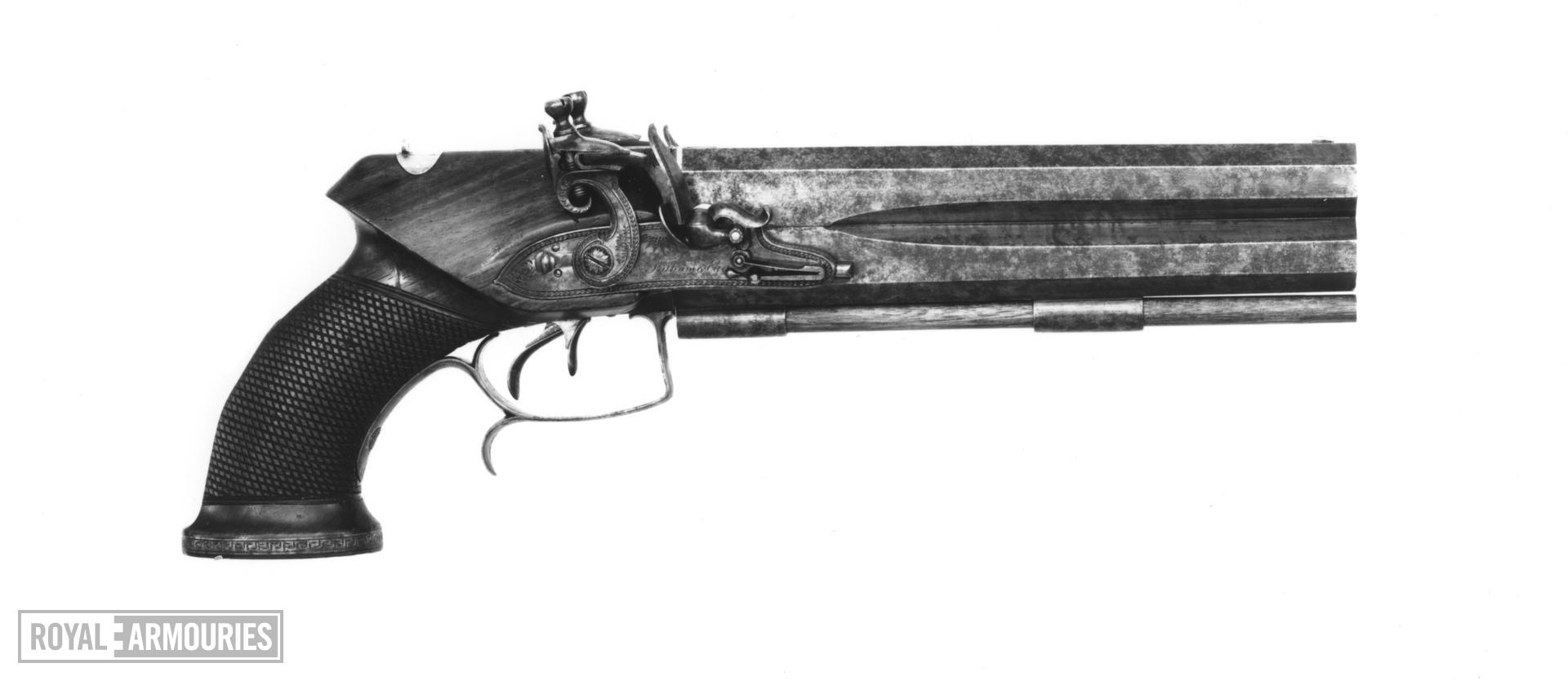 Flintlock double-barrelled pistol with detachable stock (not shown). English, about 1805. Made by Tatham and Egg (XII.1380)
