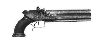 Thumbnail image of Flintlock double-barrelled pistol with detachable stock (not shown). English, about 1805. Made by Tatham and Egg (XII.1380)