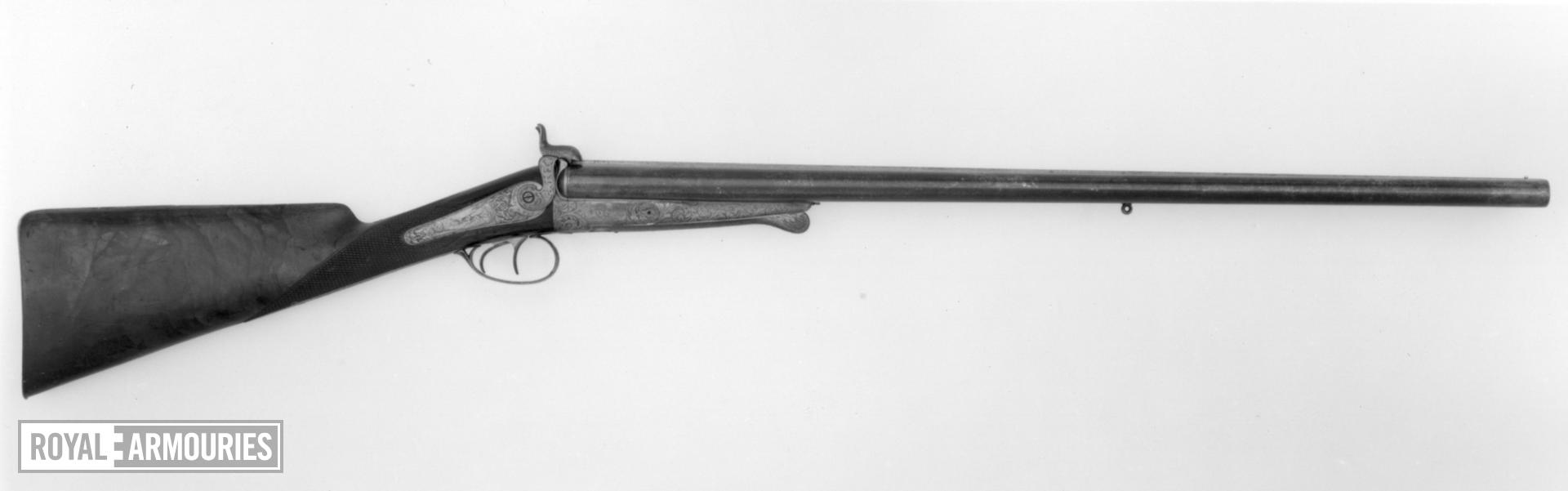 Pinfire breech-loading double-barrelled shotgun - By Lefaucheux Hammer gun For the Le Clerc family Retailed by Lissonde of Pau