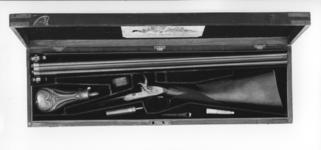 Thumbnail image of Percussion double-barrelled shotgun - By Joseph Egg Cased Converted from flintlock to the fulminate lock 'scent bottle' type by Forsyth & Co in 1821  The inscription on the rib is of a later date.