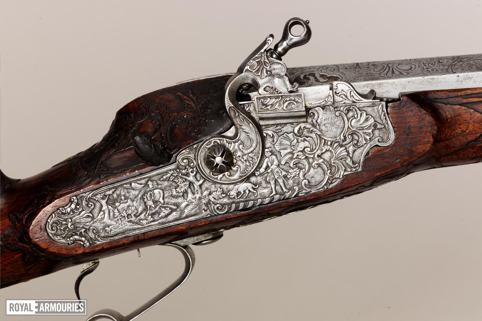 Wheellock muzzle-loading rifle - By Johann Cristoph Waas