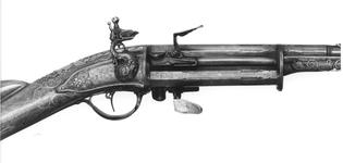 Thumbnail image of Flintlock repeating sporting gun - N/A With three revolving chambers each being fitted with separate pan and frizzen.