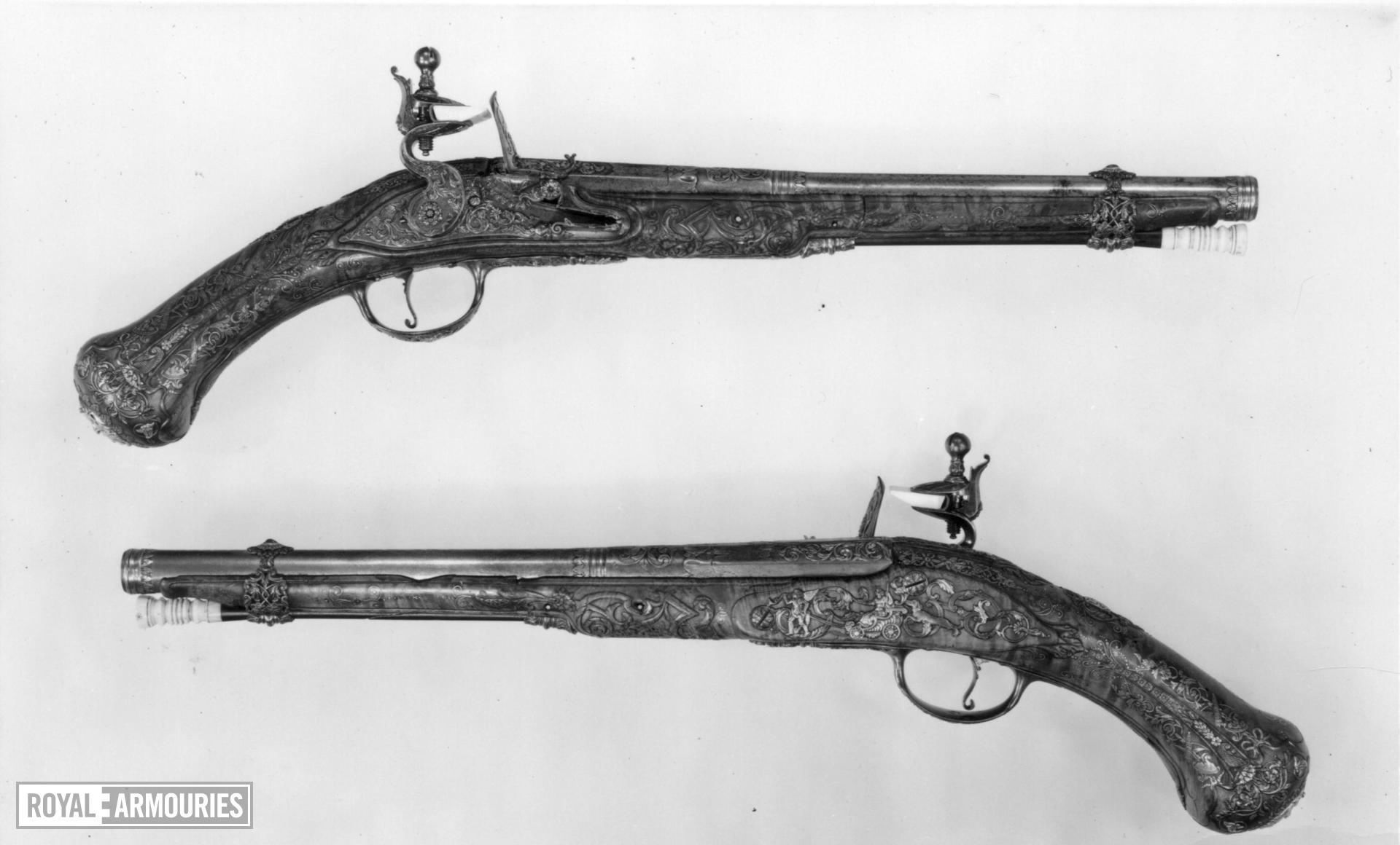 Flintlock holster pistol By Nicolas One of a pair; see XII.1629 Made for Philip V, King of Spain 1700-1726