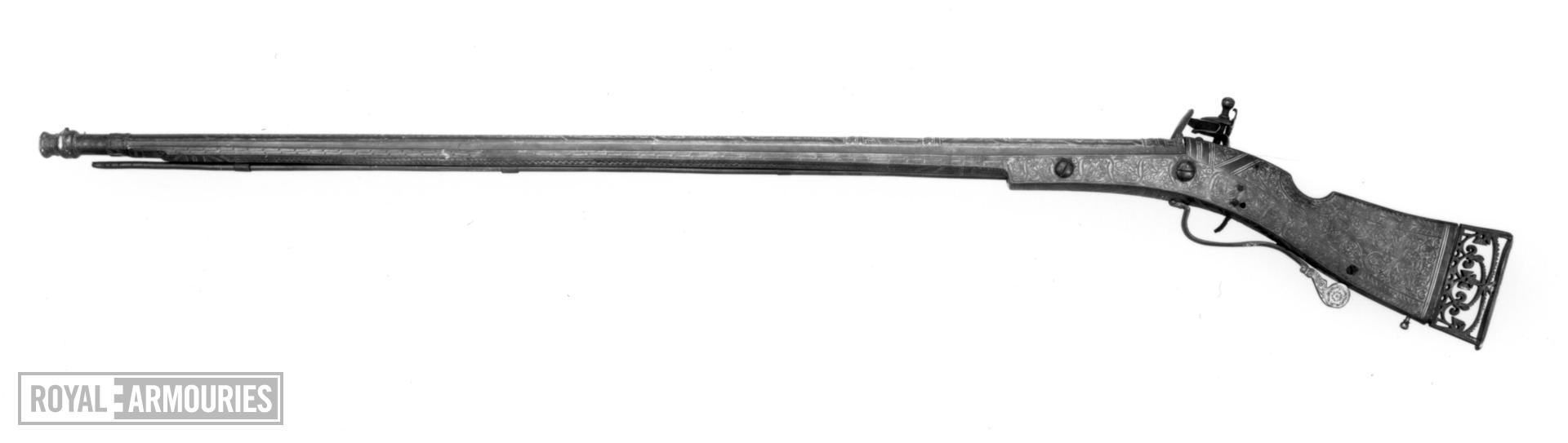 Flintlock muzzle-loading sporting gun - by James Low Probably made for Charles I, as Prince of Wales.