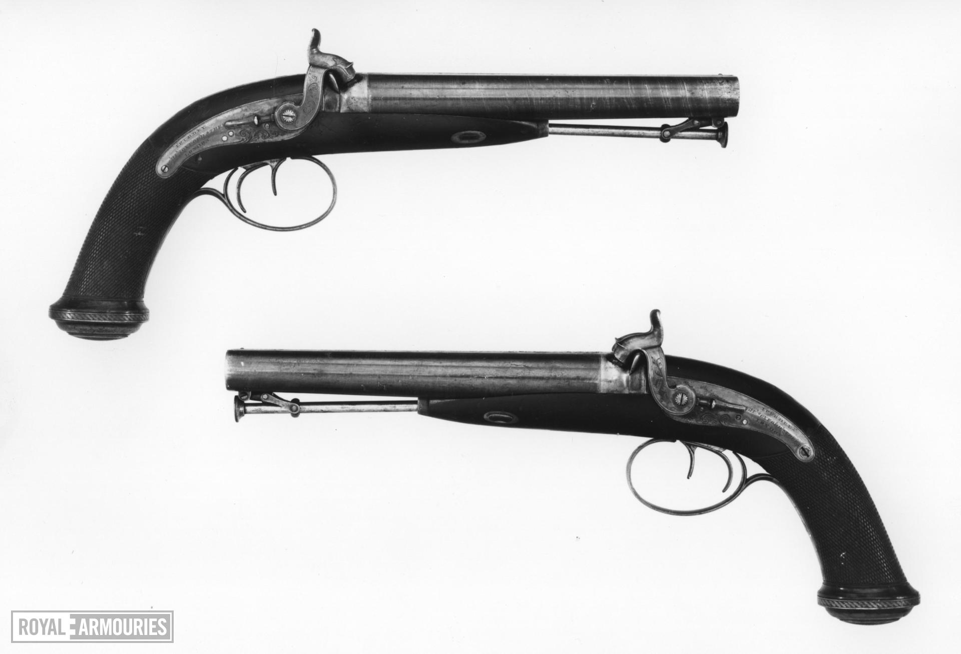 Percussion double-barrelled pistol - Howdah or holster pistol by J. Purdey