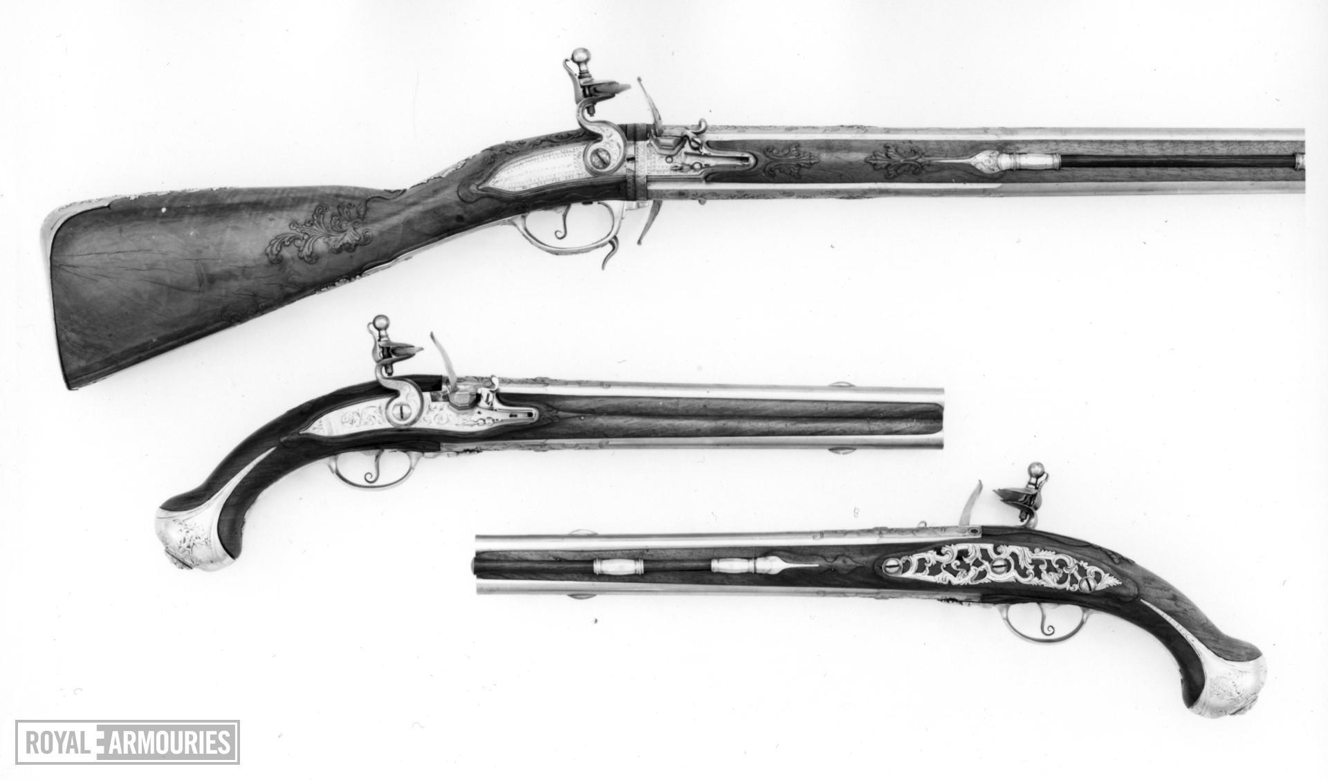 Flintlock double-barrelled gun Made for Duke Ernst August of Saxe-Weimar 1688-1748