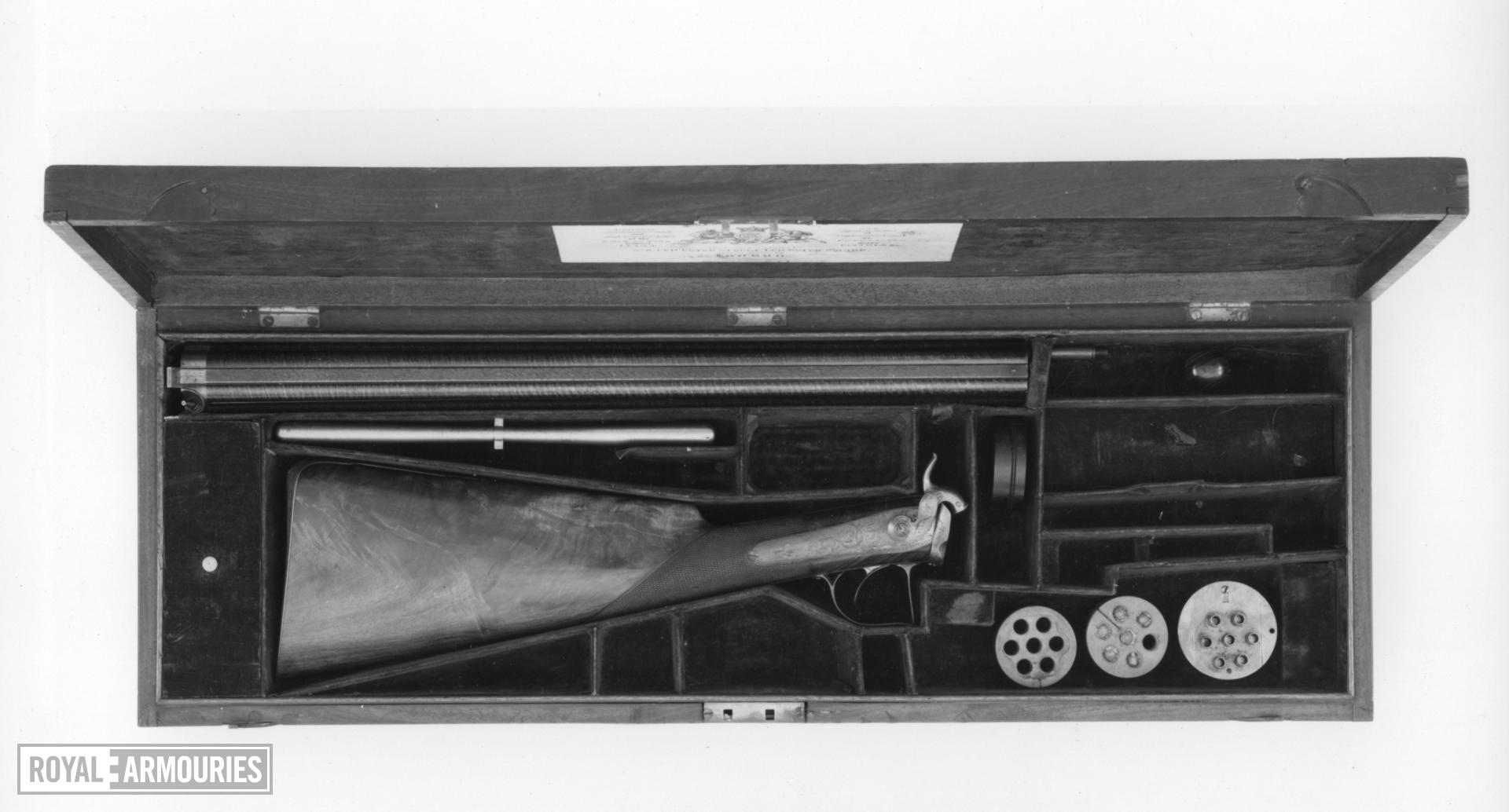 Percussion seven-barrelled volley gun - By Forsyth and Co Cased