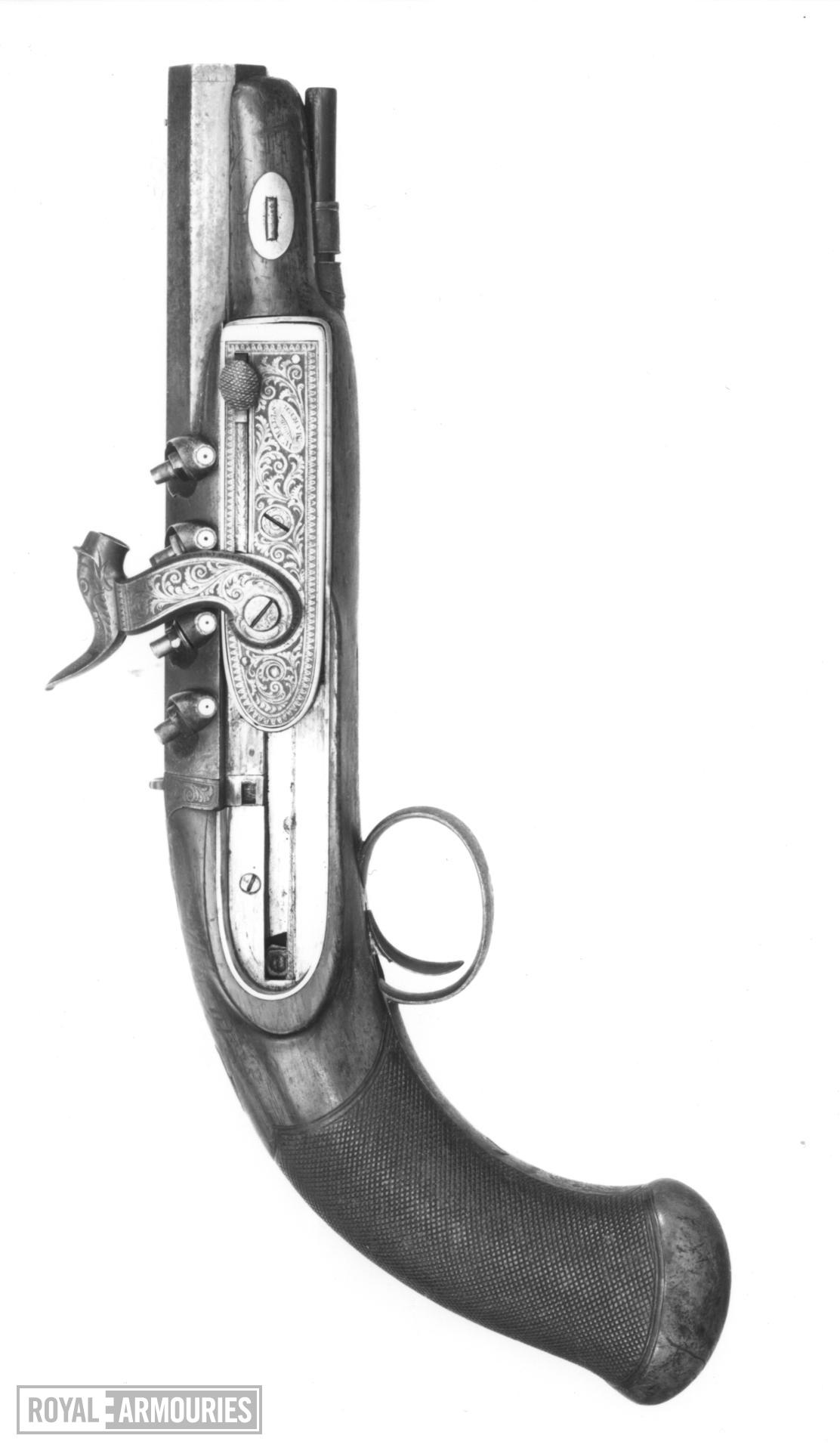 Percussion four shot superimpossed load pistol By W. Mills, 120 High Holborn