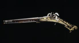 Thumbnail image of Snaphaunce muzzle-loading pistol - By Allison May have belonged to Prince Charles (later Charles I).