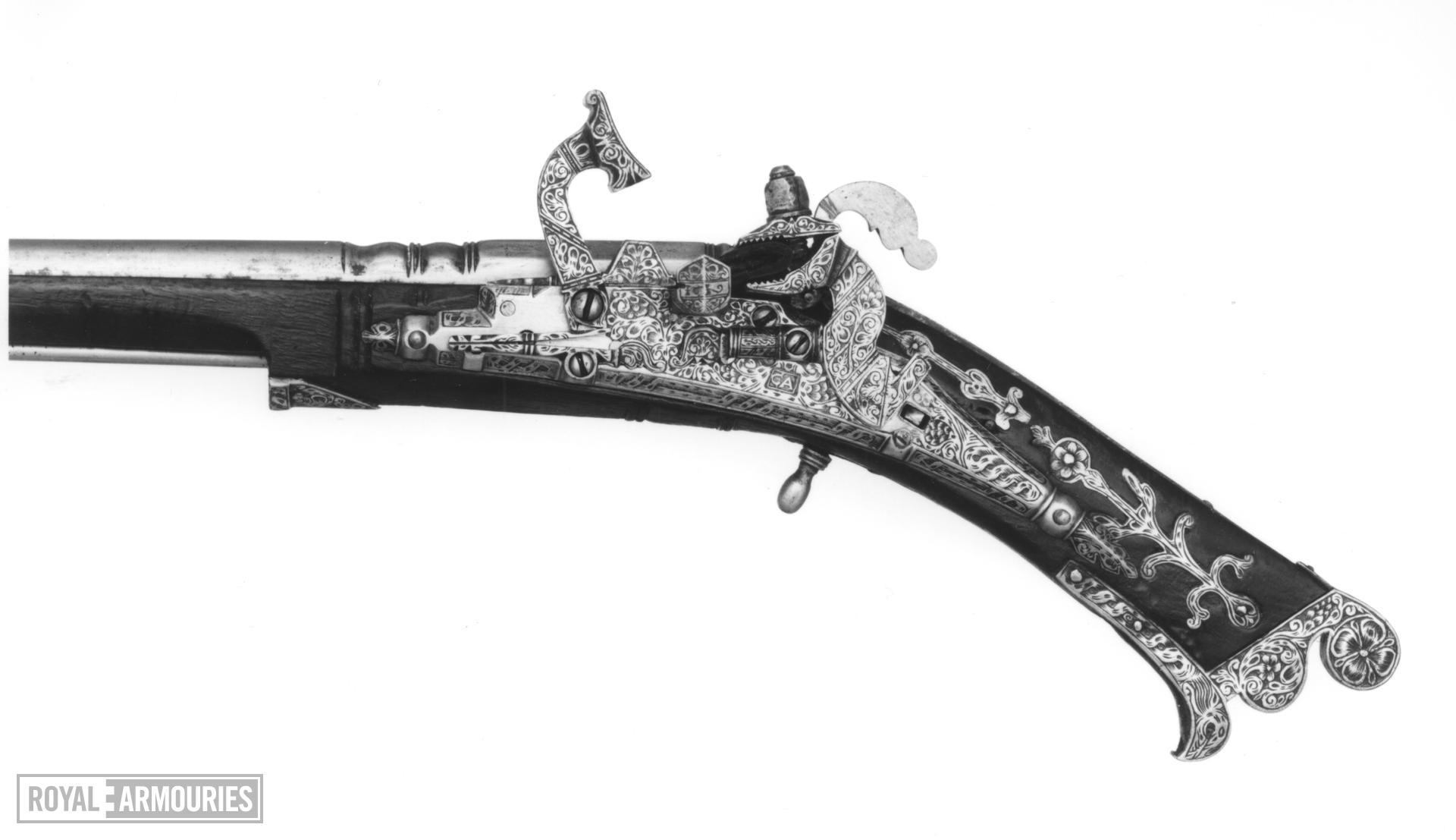 Snaphaunce muzzle-loading pistol - By Allison May have belonged to Prince Charles (later Charles I).