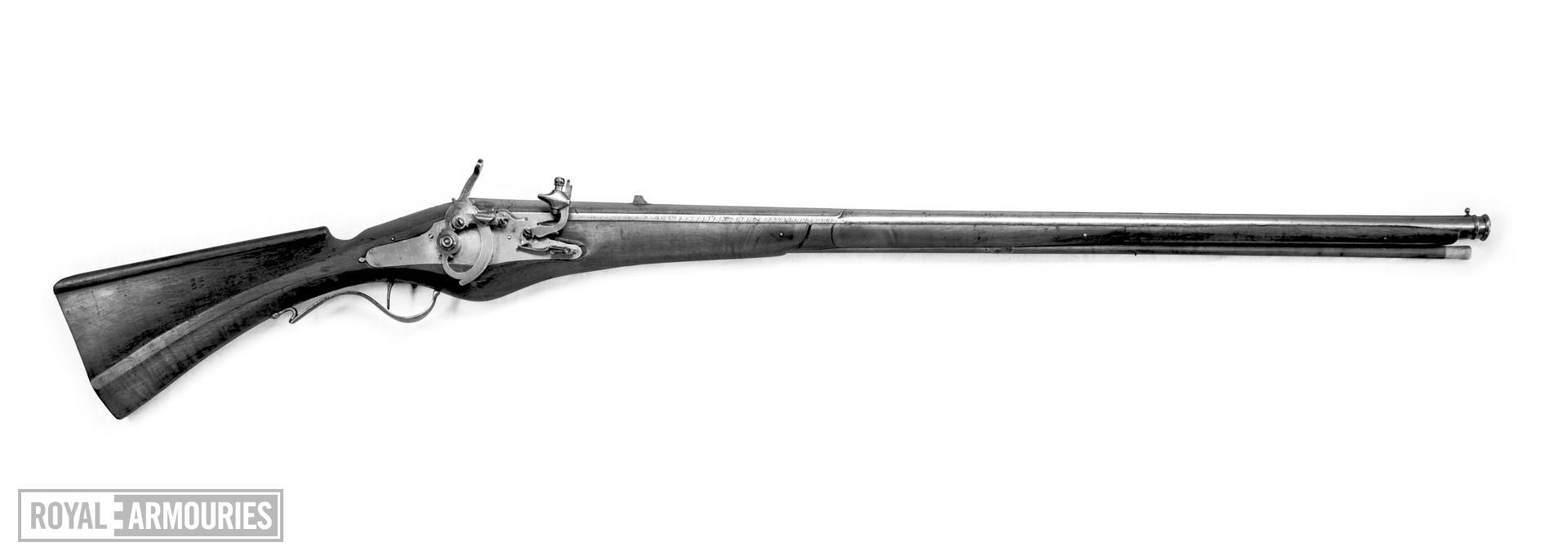 Pyrites muzzle-loading lock gun - By Rafaello Verdiani Heavy barrel with two parallel ridges running the entire length and a double moulding at the muzzle.