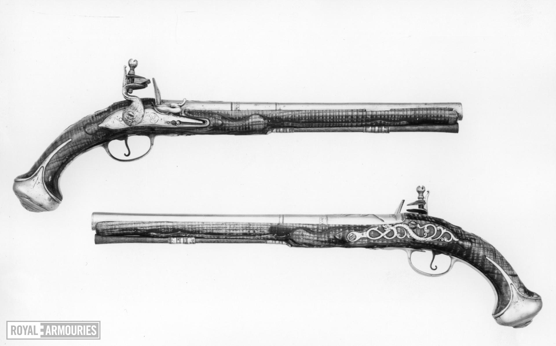 Flintlock holster pistol By E. Hickin. One of a pair see XII.1636