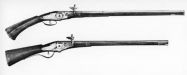 Thumbnail image of Wheellock muzzle-loading carbine - N/A Lock with external wheel retained by a small fish-tailed bearing plate.