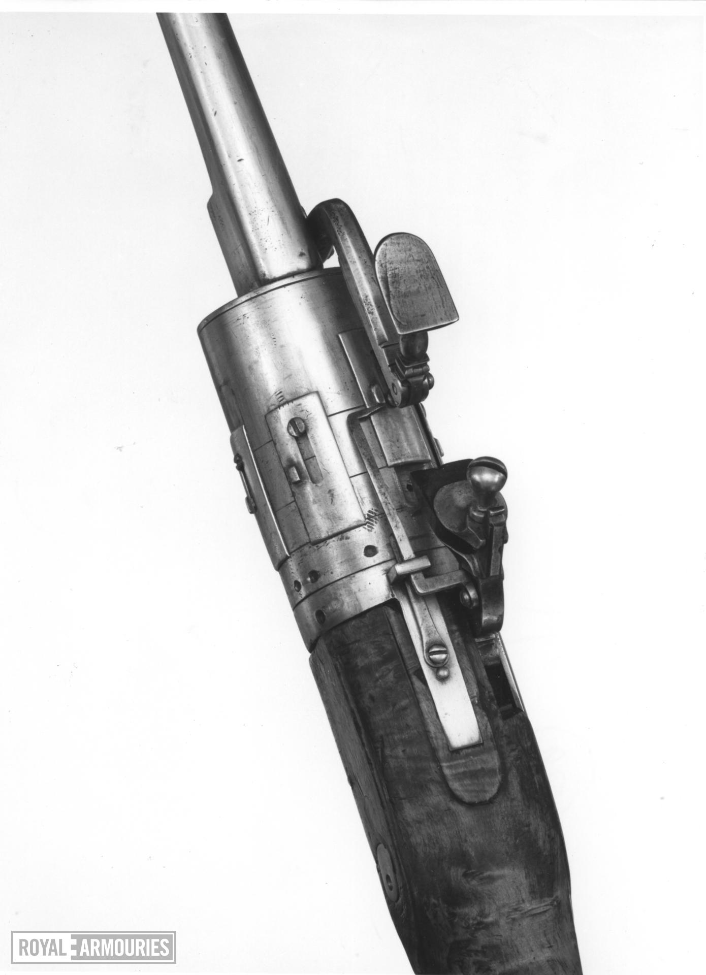 Snaphaunce six-shot revolver - Self-rotating possibly by John Dafte Believed to be the earliest of its type.