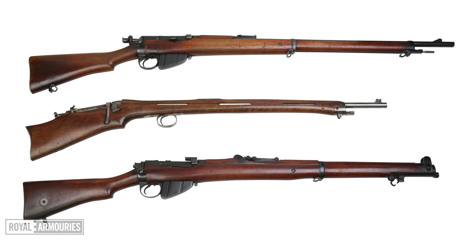 Comparison shot of 3 centrefire rifles. Thorneycroft First Pattern PR.5827. Lee Enfield Mk.I, sealed pattern PR.5711.  SMLE Mk.I 2nd Pattern PR.5776