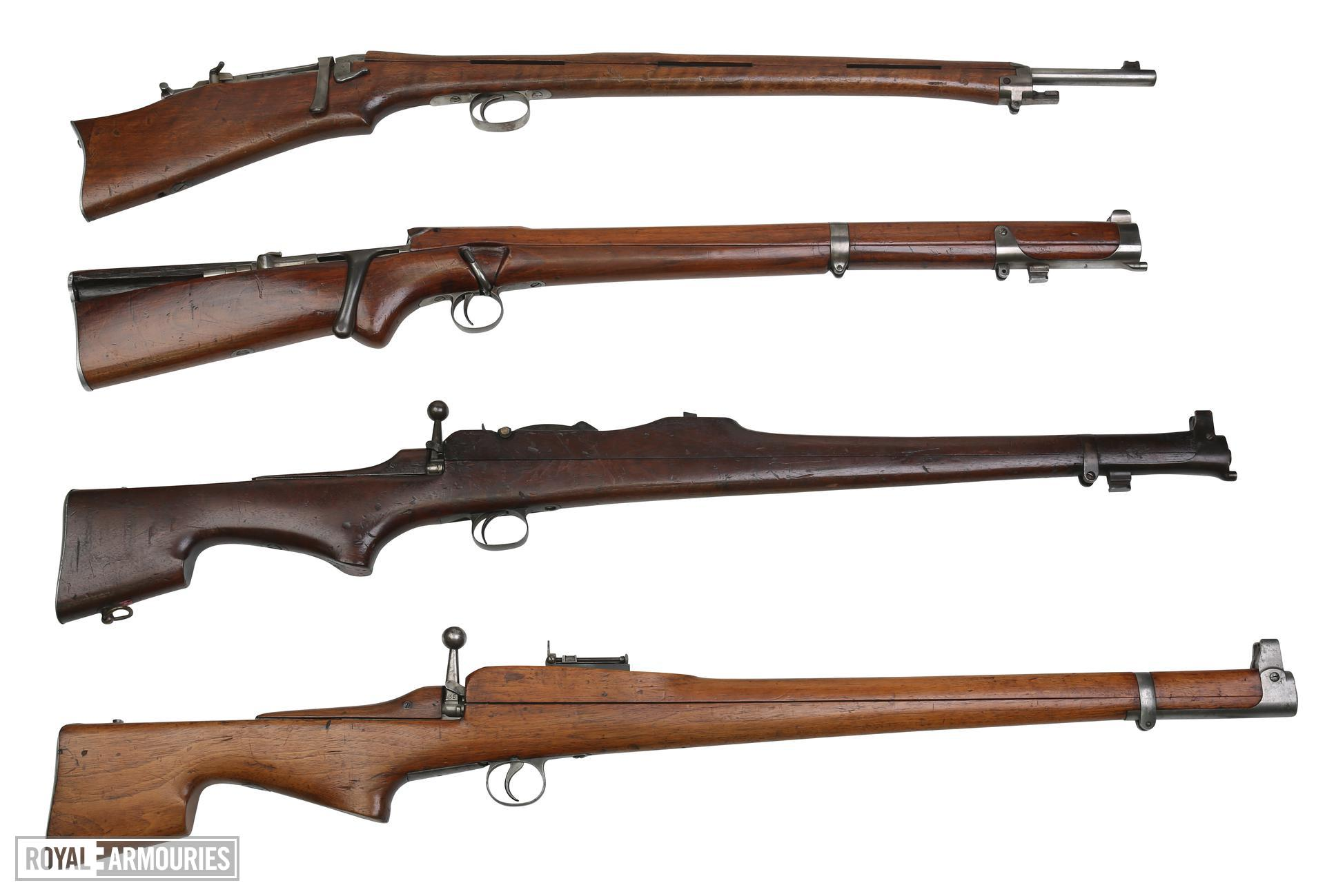 Comparison shot of 4 Thorneycroft Models. First Pattern 1902 PR.5827. Second Pattern 1902 PR.5826. Model 1906 Experimental PR.10280. Third Pattern Model 1907 PR.5835.