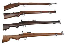 Thumbnail image of Comparison shot of 4 Thorneycroft Models. First Pattern 1902 PR.5827. Second Pattern 1902 PR.5826. Model 1906 Experimental PR.10280. Third Pattern Model 1907 PR.5835.