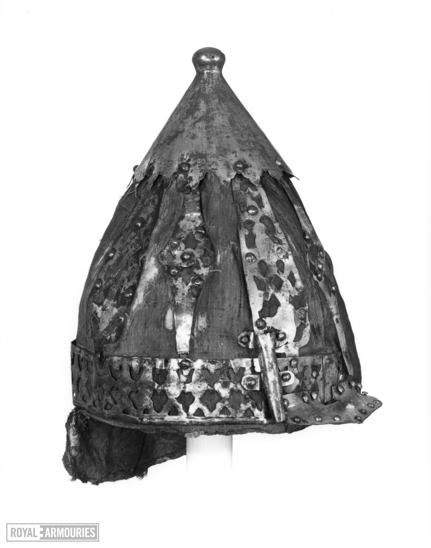 Helmet of velvet covered rawhide