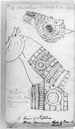 Thumbnail image of Horse armour (bargustawan) A suit of mail and plate horse armour which is dated to the period of the Mughal Empire. It is formed from three separate parts,  including a shaffron (head defence), crinet (neck defence) and combined peytral and crupper (chest and flank defences).