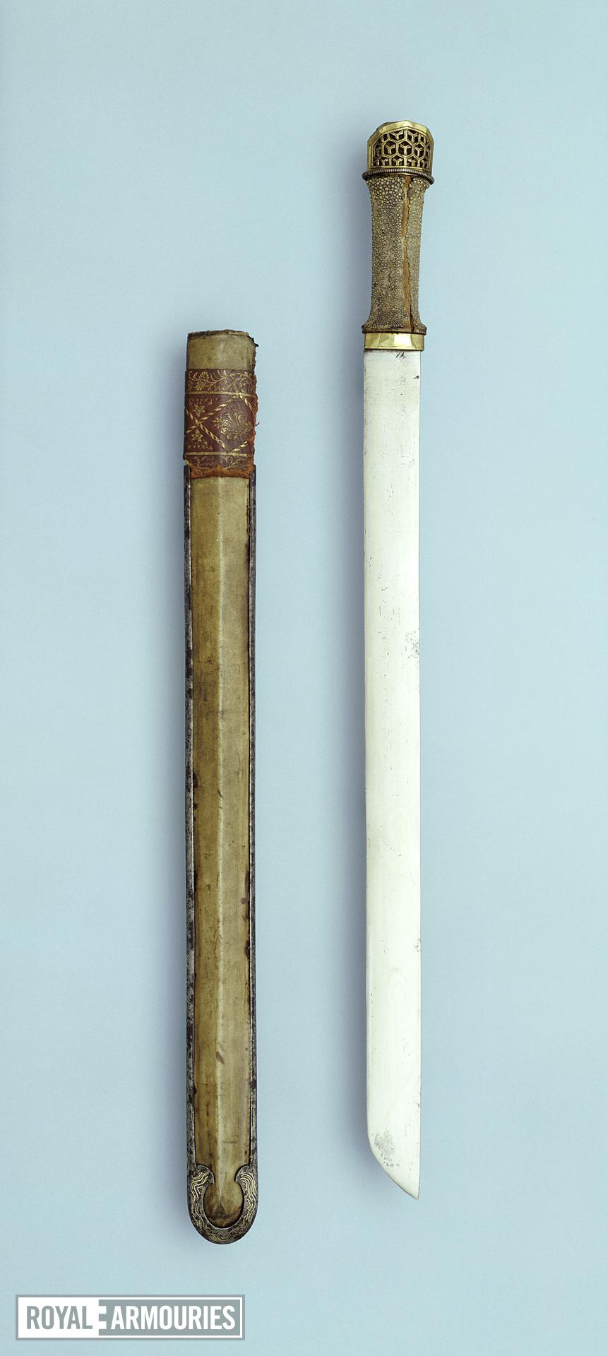 Sword and scabbard with gilded copper mounts