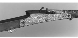 Thumbnail image of Matchlock musket (toradar) with chiseled barrel.