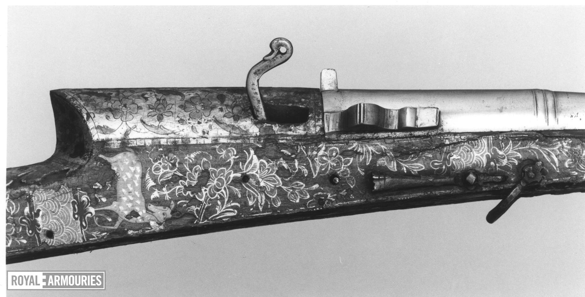 Matchlock musket (toradar) with elaborately painted stock.