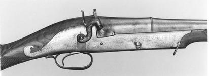 Thumbnail image of Percussion sporting gun with traditional barrel.