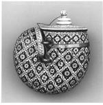 Thumbnail image of Powder flask of ivory decorated in black