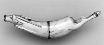 Thumbnail image of Priming flask Of ivory in the form of an antelope.