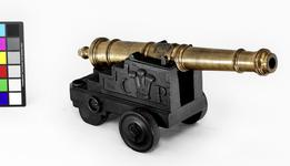 Thumbnail image of Gun and carriage Made of bronze, small in size Cast by John Browne Carriage of later design One of five guns cf.XIX.24-28.