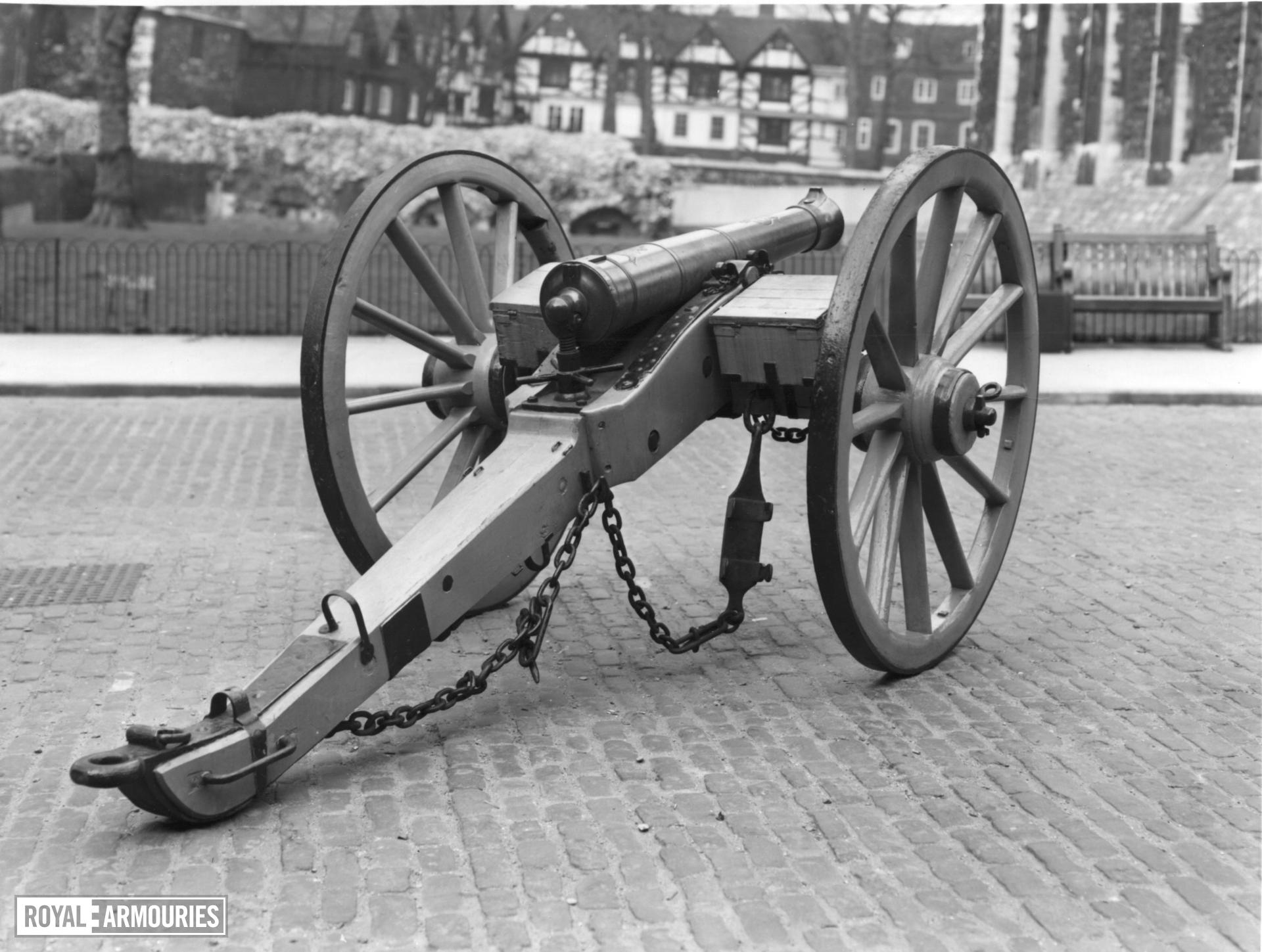 6 pr gun and field carriage Made of bronze Cast by Samuel Eccles (similar to XIX.217, 259) Carriage contemporary
