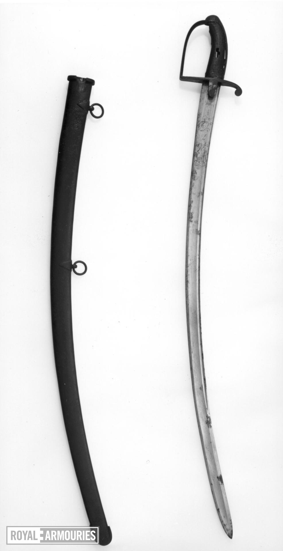 Sword and Scabbard Cavalry sword & scabbard. 7LD Woolley.