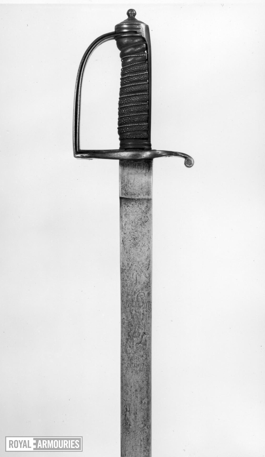 Sword Cavalry Officer's sword. Blade inscribed [15th] King's Light Dragoons.