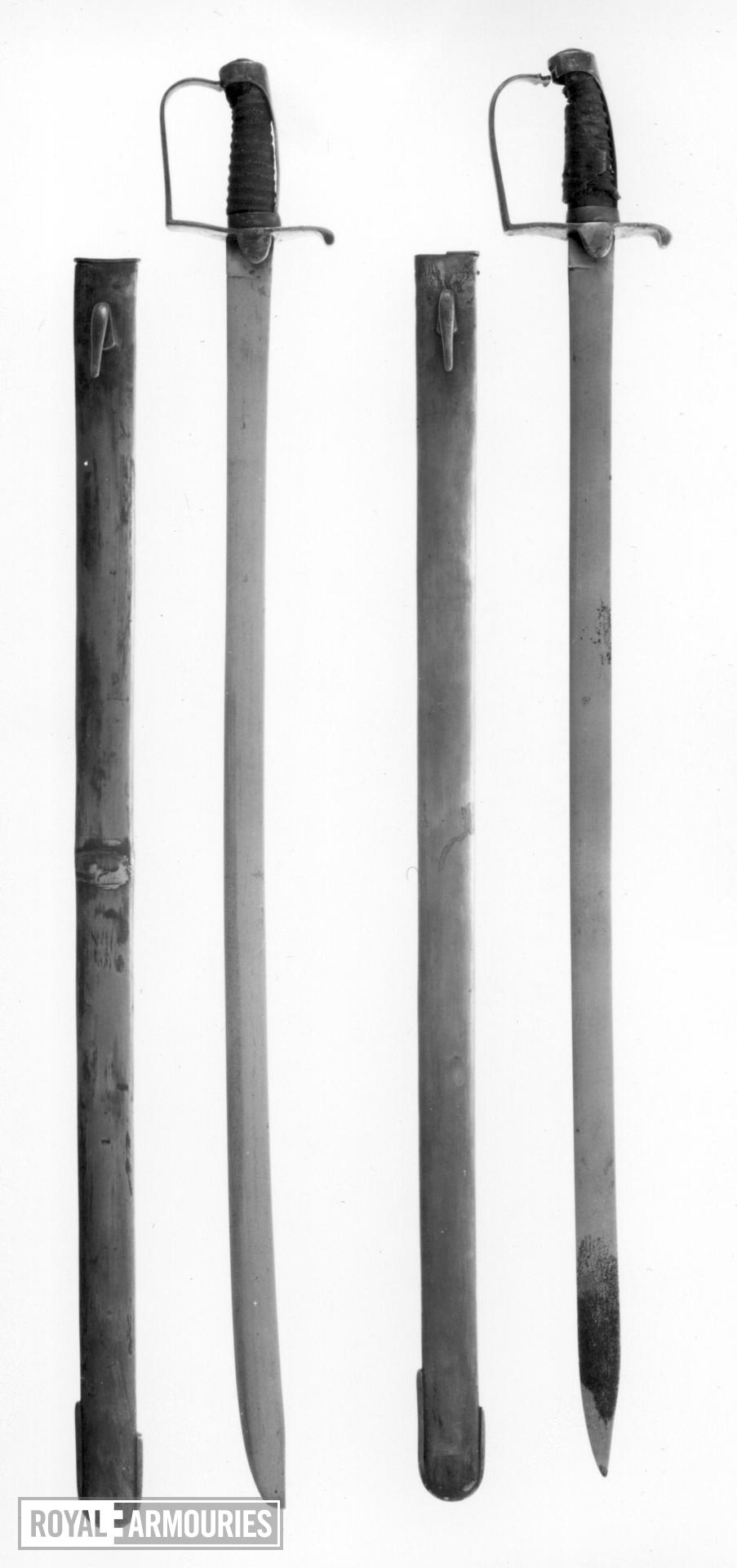 Sword and scabbard Light Cavalry Trooper's sword and scabbard. Royal Armouries Cavalry type B and Cavalry type J scabbard.
