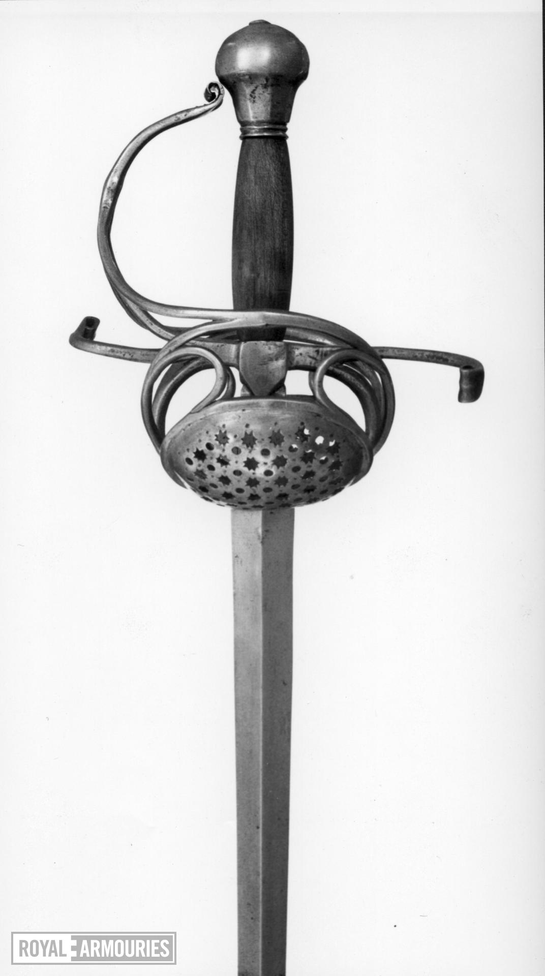 Sword - Rapier with complex pierced shell-guards.