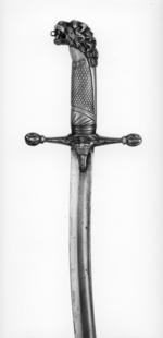 Thumbnail image of Sword Band sword. Mameluke-type hilt, lion's head pommel, bone grip and crown on ecusson - Royal Armouries band type M.