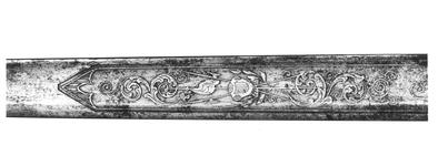 Thumbnail image of Sword and Scabbard Hunting sword and scabbard. Inscription recording it belonged to King Theodore of Abyssinia.