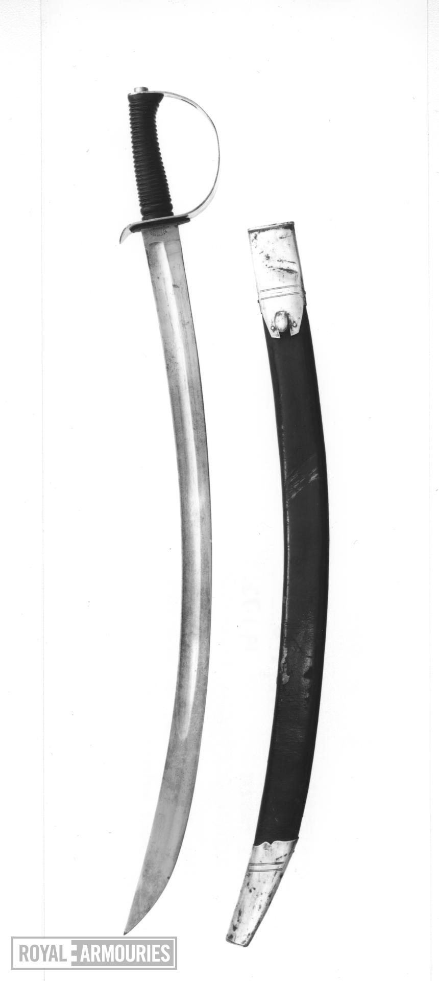 Sword and scabbard Mountain Artillery Sword, Pattern 1896, with Mk II scabbard. This example made for the Indian service. Blade marked E. Thurkle.