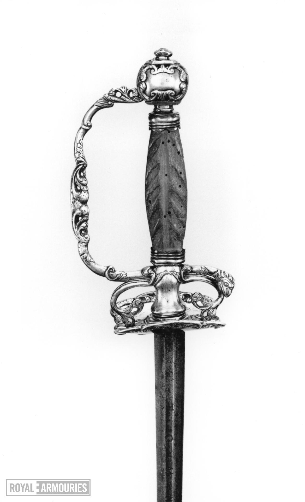 Sword Small-sword. Maker's mark RE in rectangle, probably Joseph Reason