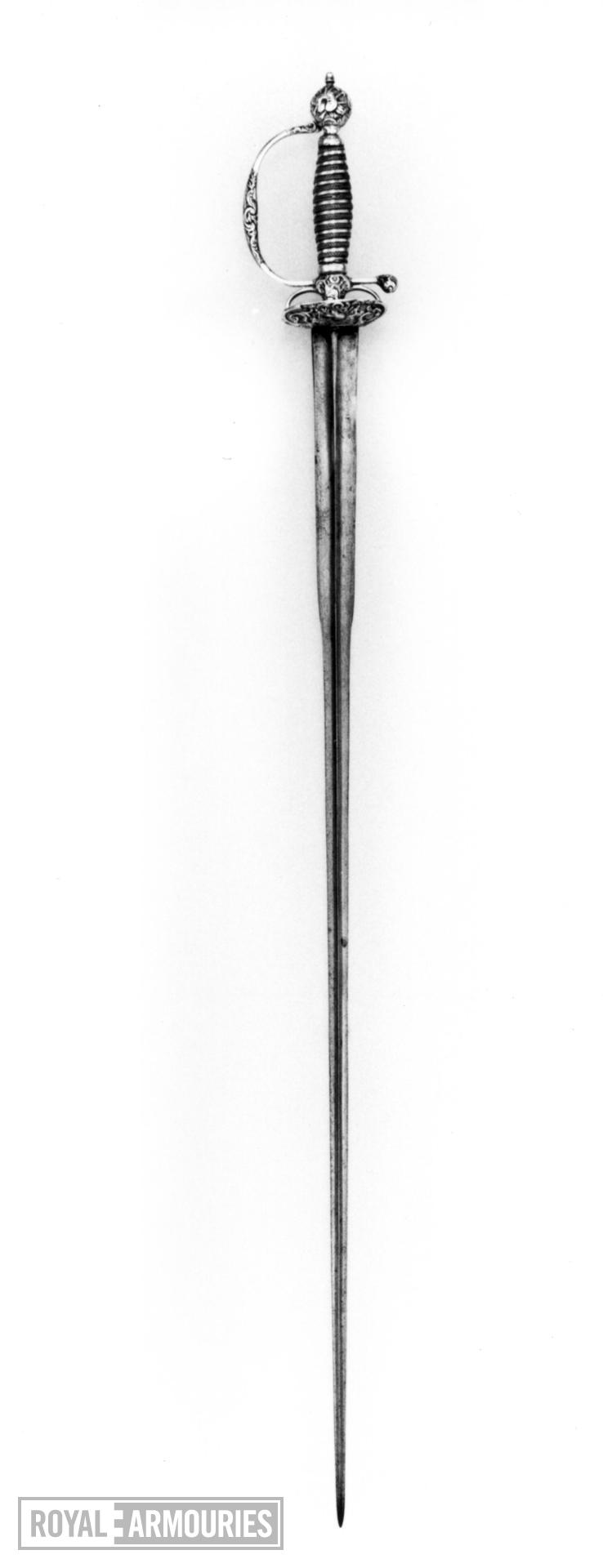 Sword Small-sword. Hilt dated 1751-52 with mark of IR and pellet between, probably for John Radborn (or Radburn)