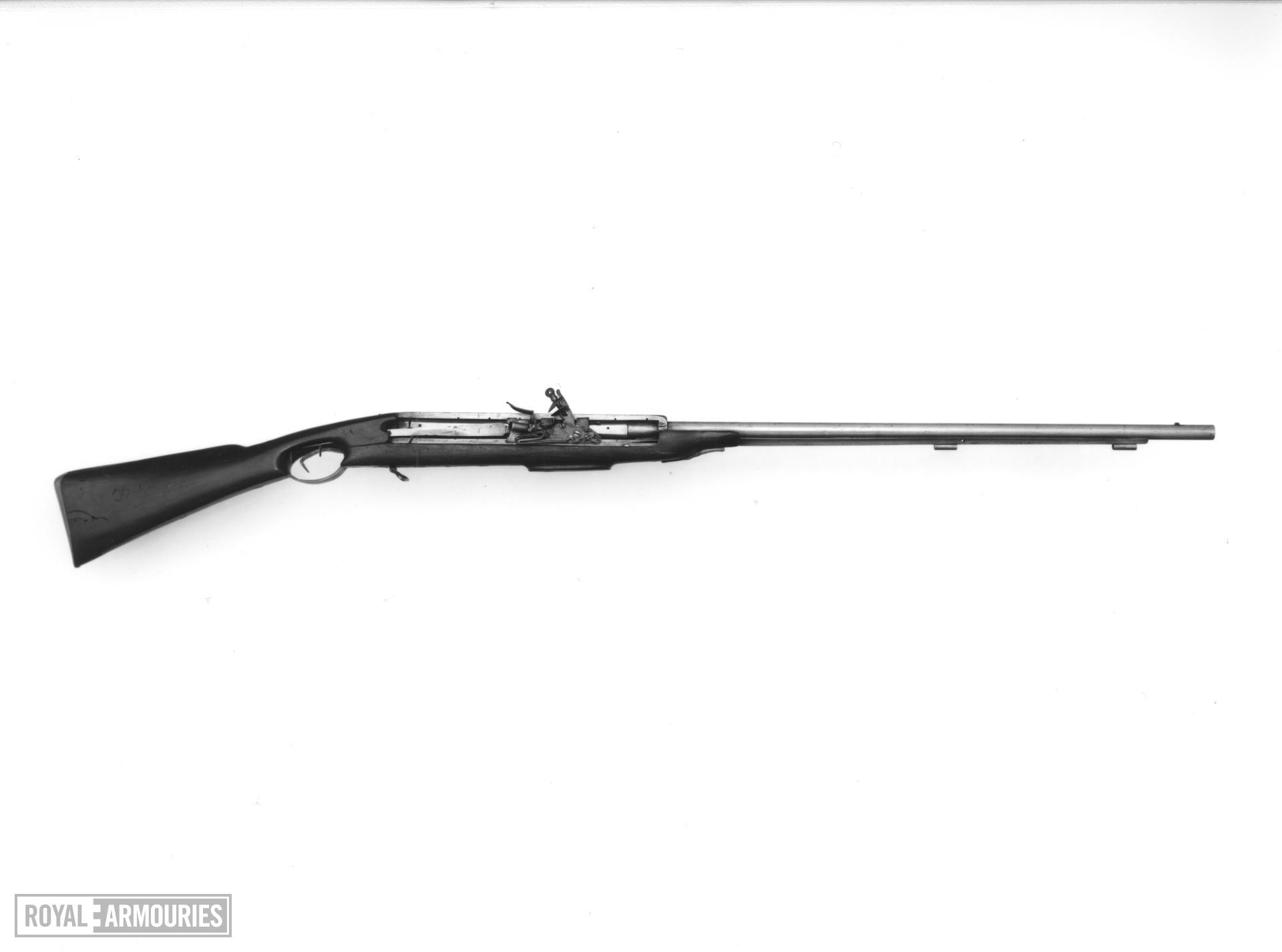 Flintlock breech-loading superimposed military musket - By Jover and Belton