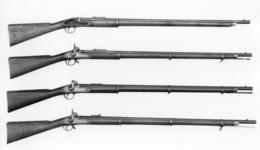 Thumbnail image of Percussion muzzle-loading military rifle-musket - Pattern 1853 Experimental Lancaster's oval bore, by W.Liversey