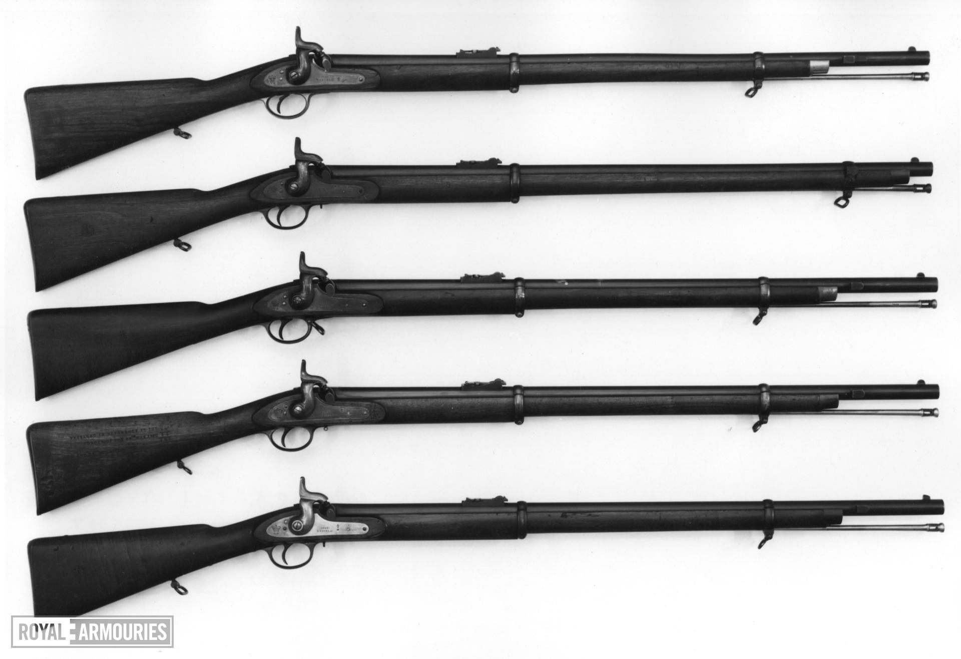 Percussion muzzle-loading military rifle-musket - Pattern 1858 Naval Rifle, sealed pattern Enfield pattern, effectively the sealed pattern but without a seal - stamped on butt No 1, Prepared October 1857. Lock dated 1857; bayonet bar on barrel