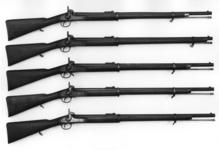 Thumbnail image of Percussion muzzle-loading military rifle-musket - Pattern 1858 Naval Rifle, sealed pattern Enfield pattern, effectively the sealed pattern but without a seal - stamped on butt No 1, Prepared October 1857. Lock dated 1857; bayonet bar on barrel